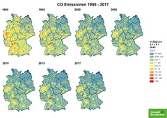 Gridded CO emissions from 1990 until 2017